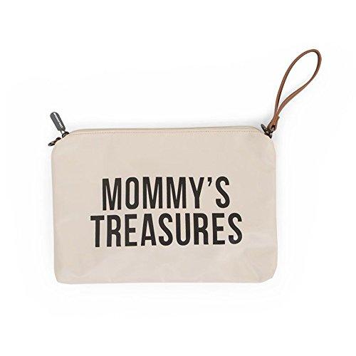 Childhome Praktische Tasche Umhängetasche mit langen und kurzem Ledergurt 33 x 23 cm passend zu Mommy Bag, Altweiss,