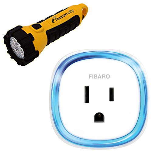 Toucan City LED Flashlight and Fibaro Smart Wall Plug with USB Port for Z-Wave FGWPB-121 ZW5