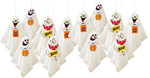 12 Lustige Gespenster Als Gruselige Halloween Deko - hängende Geister Party Dekoration für Innen & Außen