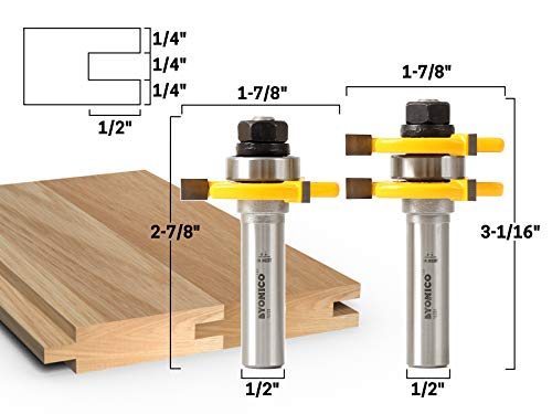 Yonico 15221 3/4-Inch 2 Bit Tongue and Groove Router Bit Set 1/2-Inch Shank