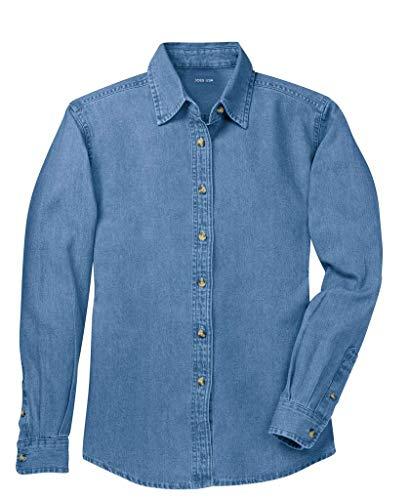 Joe's USA(tm) - Ladies Long Sleeve Value Denim Shirt, Medium, Faded Blue