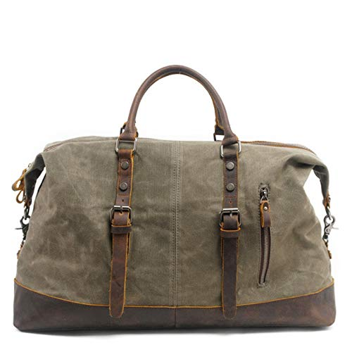 Gym Sports Duffle Bag Large Capacity Men's Hand Travel Bag Waterproof oil Wax Canvas Messenger Luggage Bag Portable and Durable (Color : Gray, Size : 54x42x23cm)