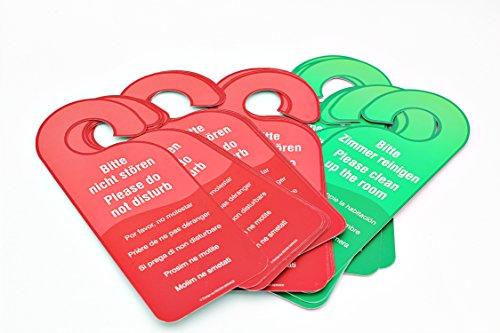 25 carteles para puerta con texto en alemán por ambos lados de «Bitte nicht stören» y «Bitter Zimmer reinigen», en colores rojo y verde