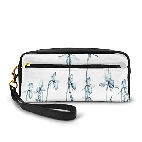 Pencil Case Pen Bag Pouch Stationary,X-Ray Photo of A Group of Orchids Bottom to Top Rare Unseen Art in Complex Nature,Small Makeup Bag Coin Purse