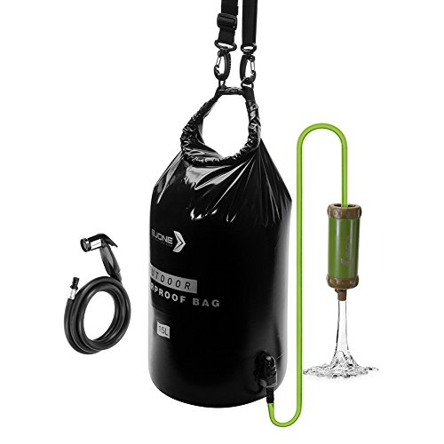 BJONE 15L Gravity Filter with Water Bag Gravity-Fed Water Purification System High-volume Water Purifier with a Shower for Camping, Backpacking, Traveling and Outdoor Activities. (Black)