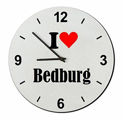 Druckerlebnis24 Glasuhr I Love Bedburg eine tolle Geschenkidee die von Herzen kommt| Wanduhr| Geschenktipp: Weihnachten Jahrestag Geburtstag Lieblingsmensch