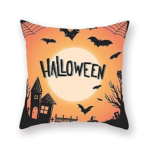 Decoraciones de Halloween Almohada de Halloween de 18 x 18 pulgadas Juego de 4 almohadas de truco o trato, funda rústica de vacaciones para sofá, sofá, almohada de lino (las inserciones están incluida