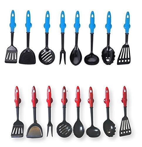 DFL Juego de 16 imanes para nevera, diseño de utensilios de cocina (2 x 8 unidades), color rojo y azul