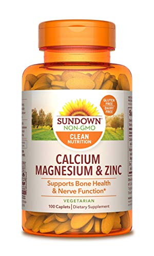 Sundown Calcium, Magnesium and Zinc for Immune Support, 100 Caplets (Packaging May Vary) Vegetarian, Vegan-Friendly, Non-GMOˆ, Free of Gluten, Dairy, Artificial Flavors