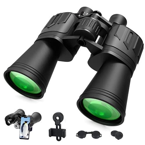 SGAINUL 10x50 Fernglas für Erwachsene, Kompaktfernglas, Leistungsstarkes HD-Fernglas für Vogelbeobachtung, Reisen, Jagen im Freien, Fernglas mit Tragetasche und Smartphoneadaptera