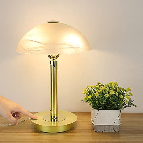 Depuley LED Nachttischlampe Touch, 2*4W E14 Tischlampe Gold, Vintage Tischleuchte mit Glas Lampenschirm, 3000K, Schreibtischlampe für Wohnzimmer, Schlafzimmer, Kinderzimmer, Büro(Glühbirne inkl.)