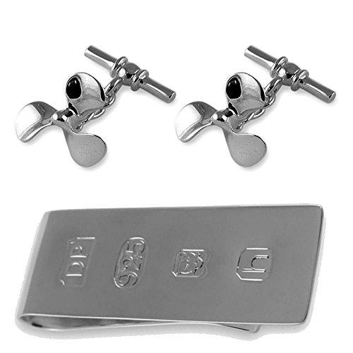 Select Gifts Sterling Silber Boot Propeller Manschettenknöpfe James Bond Geld Clip Box Set