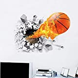 iBuuuy Pegatinas de pared de baloncesto 3D removibles de baloncesto volador arte de pared para niños decoración de pared para dormitorio sala de juegos mural