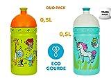 Eco Gourde Duo Pack La Gourde écologique Enfant sans BPA Bouteille d'eau Made in EU (L'unicorne + Zoo)