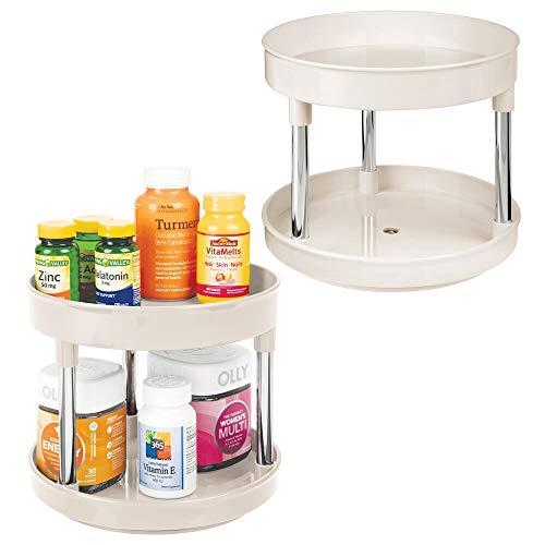 mDesign 2er-Set drehbares Kosmetiktablett – stilvolle Ablagefläche für Lotion, Kosmetik und Medikamente – runde zweistöckige Kosmetik Aufbewahrung für Bad und Küche – cremefarben/silberfarben