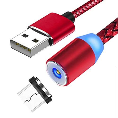 Cable de carga magnético,cable trenzado giratorio de 360°Cable de carga,cargador magnético trenzado de nailon para teléfonos inteligentes Micro Usb-Android Rojo