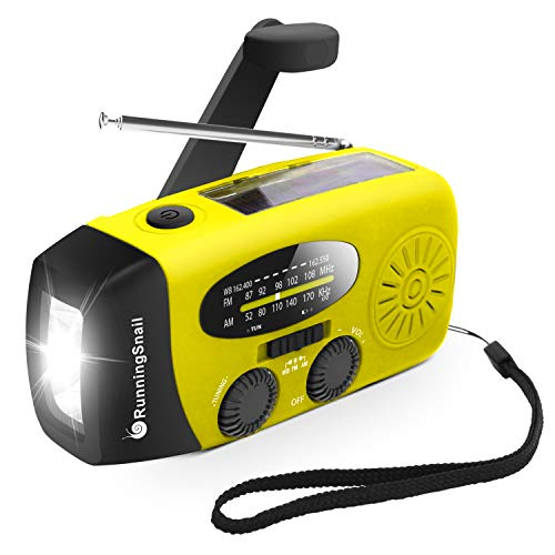 Upgraded Version RunningSnail Emergency Hand Crank Self Powered AM/FM NOAA Solar Weather Radio with LED Flashlight, Emergency Power Bank for iPhone/Smartphone (088Y)