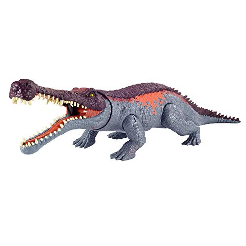 Jurassic World GVG68 - Gewaltige Beißer Sarcosuchus, größere Dinosaurier-Actionfigur mit beweglichen Gelenken und realistischen Details, für Kinder ab 4 Jahren