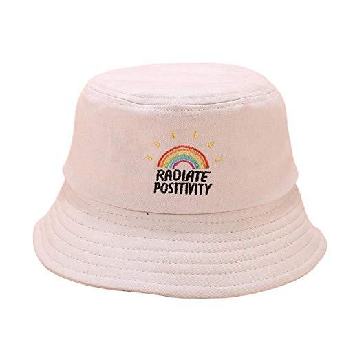 Sombrero Pescador Gorras Sombrero De Pescador Con Bordado De Arcoíris Para Mujer, Visera De Sol Informal Colorida, Sombrero De Cubo Plegable, Sombrero De Hip Hop Para Estudiantes Al Aire Libre-Bg