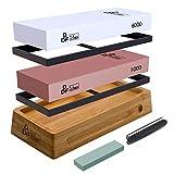DDF IohEF [Extra Large Size] Sharpening Stone Set 1000/6000, Professional Whetstone Set, Waterstone Knife Sharpener with Non-Slip Bamboo Base/Rubber Bases/Flatting Stone/Angle Guide