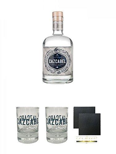 Cazcabel White Tequila 0,7 Liter + Cazcabel Tequila Shot Glas 1 Stück + Cazcabel Tequila Shot Glas 1 Stück + Schiefer Glasuntersetzer eckig ca. 9,5 cm Ø 2 Stück
