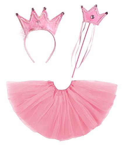 Disfraz de Princesa Nia Chica, Conjunto Falda de Tut, Diadema de Corona y Varita de Hada, Accesorios para Fiestas Cumpleaos (Rosa)