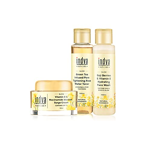 Indya Morning Glow Kit with Hydrating Face wash(100ml),Rose water Toner(100ml) & Vitamin E Surge Cream(50ml) ||Unclogs dirt from pores & tightens skin ||Moisturizes and hydrates skin