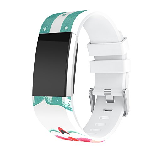 MoreToys Silicone Christmas Printed Adjustable Replacement Accessory Sport Watch Band Wrist Strap Bracelet for Fitbit Charge 2 Fitness Wristband (Green)