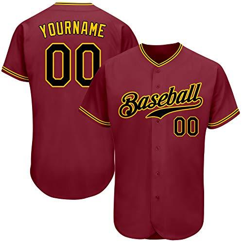Custom Men's Hip Hop Athletic Shirts Button-Down Mesh Baseball Jersey Personalized Team Uniforms L