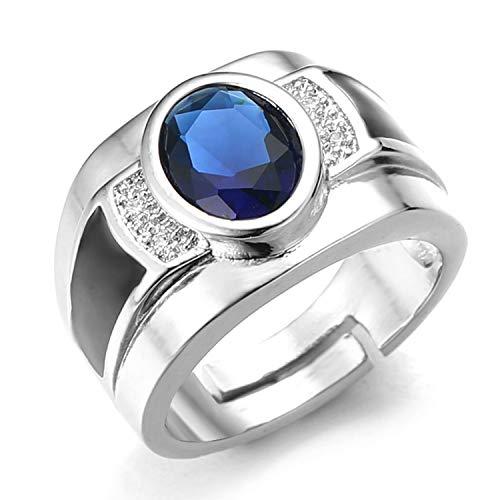 Halukakah Anillo de Diamantes con Cristal de Piedras Preciosas Azules,Hombres Chapado en Platino de Oro Blanco Real 18k Auricular Diamantes Ágata Negra Tamaño Ajustable con Caja