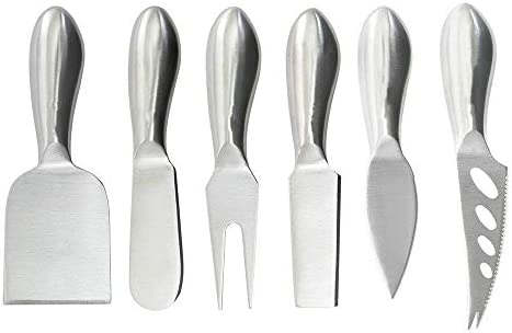 LGUIY Cheese Knife Set 6 Pieces Stainless Steel Cheese Slicer Cheese Cutter Fork Shaver Spreader product image