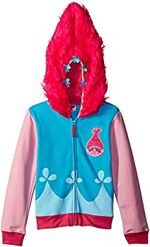 Trolls Girls  Little Movie Poppy Costume Zip Hoodie with Faux Fur on Hood Blue/Pink Large-6X