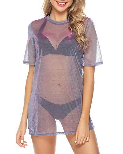 Hawiton Robe Femme T-Shirt Transparent Cache-Maillot Sexy Manche Courte Robe de Plage Été Vacances, Bleu, XL