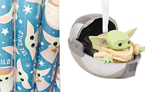 Star Wars The Mandalorian Baby Yoda Wrapping Paper, Hoovering Pram Ornament or Yoda Santa Hat (Paper and Ornament)