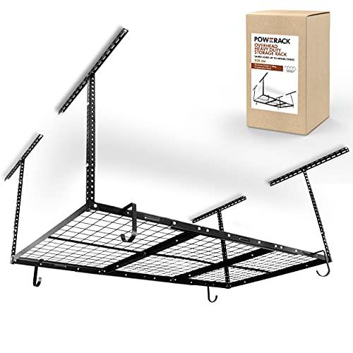 POWERACK Overhead Garage Shelving Storage Rack   Adjustable 3' x 6' Ceiling Garage Organization Shelf   22-40