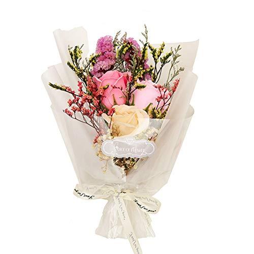 Blanchel Flores secas Decoraciones de flores de jabón artificial Caja de regalo estrellada para bodas de aniversario Cumpleaños Día de San Valentín Día de la Madre