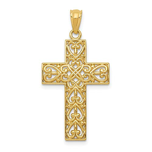 14k Yellow Gold Filigree Cross Religious Pendant Charm Necklace Latin Fancy Fine Jewelry For Women Gifts For Her