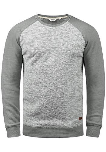 !Solid Flocker Herren Sweatshirt Pullover Flocksweat Pulli Mit Rundhalsausschnitt Aus 100% Baumwolle, Größe:M, Farbe:Mid Grey (2842)