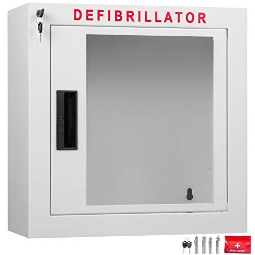 VEVOR 15Inch AED Cabinet Emergency 38x38x18cm Alarmierte AED Schrank Defibrillator Wandkasten AED Wall Mount Cabinet Defi Wall Box mit Alarm