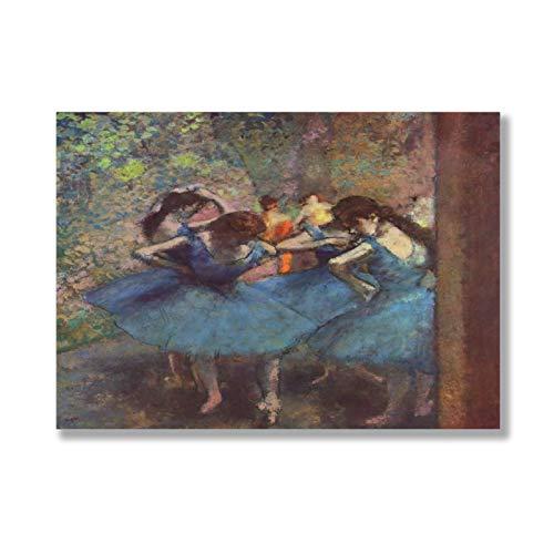 VinMea Tabla de madera para colgar en la pared, diseño de bailarines en azul Edgar Degas, arte de madera para colgar en la pared, diseño de casa de campo inspiradora, 30,48 x 20,32 cm