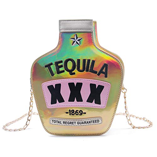 Kuang glitzernde Damen-Schultertasche in Flaschenform, elegant, laserfarben, Wein-Form, Gold (gold), Einheitsgröße