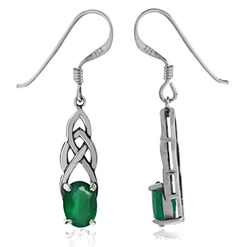 Silvershake 1.44ct. Natural Emerald Green Agate 925 Sterling Silver Celtic Knot Dangle Hook Earrings