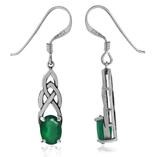 Silvershake 1.44ct. Natural Emerald Green Agate 925 Sterling Silver Celtic Knot Dangle Hook Earrings