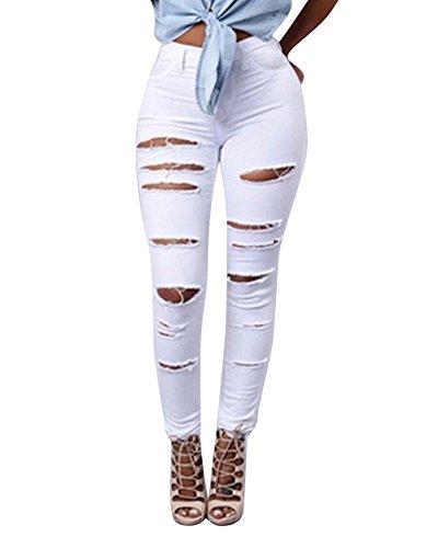 Denim Pantalones Jeans Rotos Vaqueros Push Up Vaqueros Elásticos para Mujer Blanco S