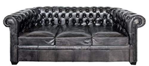 Casa Padrino Chesterfield Büffelleder Sofa Vintage Schwarz 222 x 92 x H. 73 cm Möbel