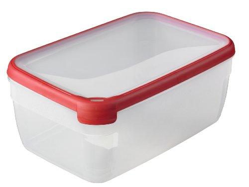 CURVER Boîte Grand Chef - Alimentaire Transparente Rectangulaire Plastique - Grande Capacité 5,4L - Boîte Conservation Tous Types d'Aliments - Adapté au Micro-Ondes, Lave-Vaisselle, Congélateur- Rouge