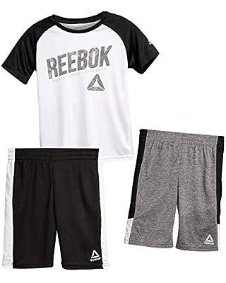 Reebok Boys' 3 Piece Performance Sports T-Shirt and Short Set (Black, 2T)'