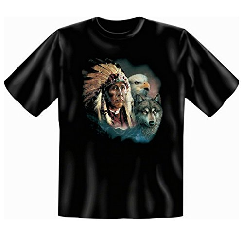 Indianistik T-Shirt auch in Übergröße Indianer mit Wolf und Adler Gr 3XL in schwarz