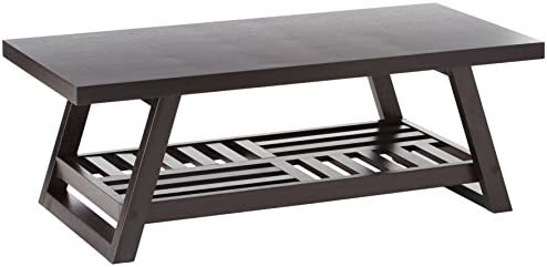 Best Coffee Table with Slatted Bottom Shelf Cappuccino