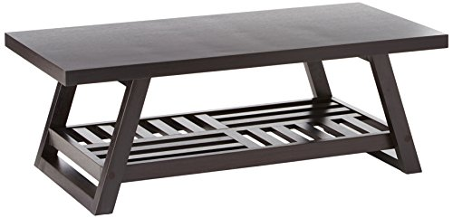 Coffee Table with Slatted Bottom Shelf Cappuccino